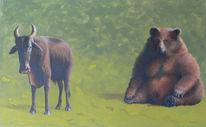 Bulle, Acrylmalerei, Bär, Börse
