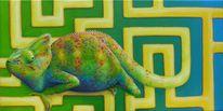 Labyrinth, Acrylmalerei, Grün, Chamäleon
