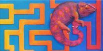 Acrylmalerei, Diptychon, Chamäleon, Labyrinth