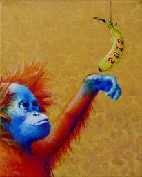 Orang utan, Affe, Banane, Malerei