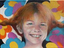 Blumen, Portrait, Acrylmalerei, Pippi langstrumpf