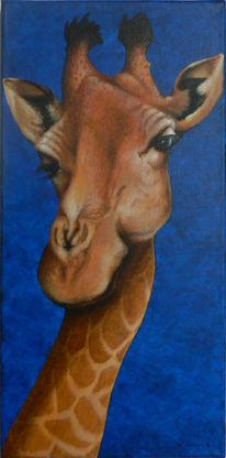 Tierportrait, Acrylmalerei, Blick, Giraffe