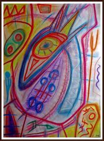 Bunt, Modern, Pastellmalerei, Malerei