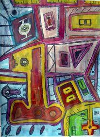 Malerei, Bunt, Schlüssel, Glück