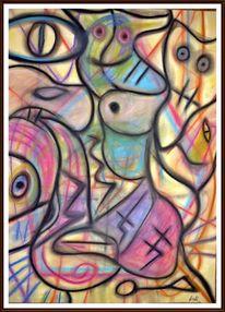 Malerei, Pastellmalerei, Bunt, Archaich