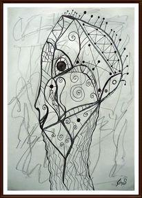 Schwarz weiß, Surrealistisch, Mischtechnik, Zeichnung