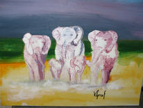 Alt, Elefant, Pink, Malerei