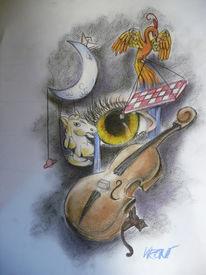 Mond, Springer, Phönix, Geige