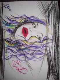Selbstportrait, Lila, Malerei, Portrait