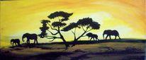 Sonnenuntergang, Afrika, Elefant, Herd