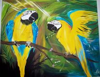 Urwald, Papagei, Blau, Acrylmalerei