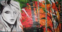 Bambus, Frau, Acrylmalerei, Ahorn