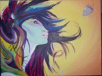 Wind, Frau, Bunt, Acrylmalerei