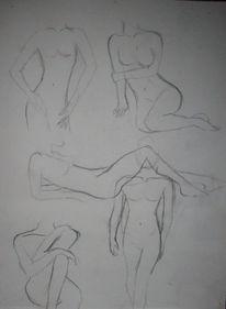 Körper, Schwarzweiß, Frau, Zeichnungen
