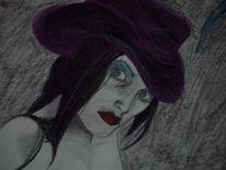 Lila, Frau, Portrait, Hut