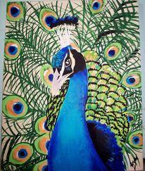 Blau, Vogel, Acrylmalerei, Grün