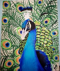 Vogel, Acrylmalerei, Grün, Pfauenfedern