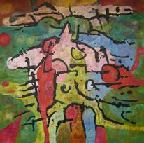 Welle, Expressionismus, Ölmalerei, Panel