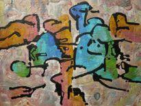 Expressionismus, Ölmalerei, Welle, Panel