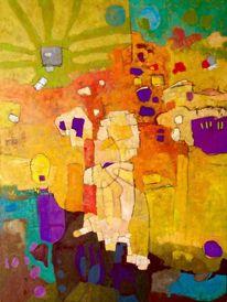 Panel, Ölmalerei, Modern, Abstrakt