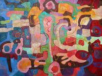 Abstrakt, Malerei, Gold
