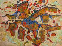 Panel, Ölmalerei, Expressionismus, Abstrakt