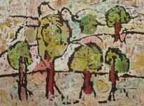 Hinterhof, Expressionismus, Ölmalerei, Panel