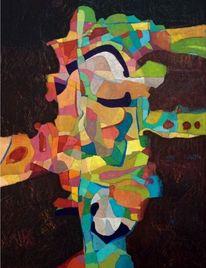 Modern, Panel, Ölmalerei, Abstrakt