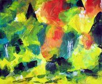 Acrylmalerei, Spachtel, Natur, Abstrakt