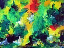 Herbst, Acrylmalerei, Spachtel, Malerei