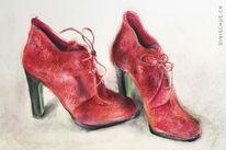 Mädchen, Schuhe, Rot schwarz, Damenschuhe