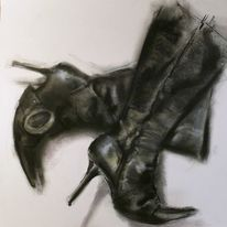 Stiefel, Damenschuhe, Schwarz, High heels