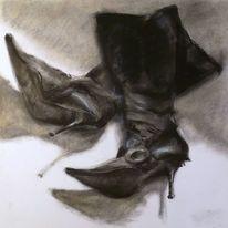 Schwarz, High heels, Schuhe, Stiefel