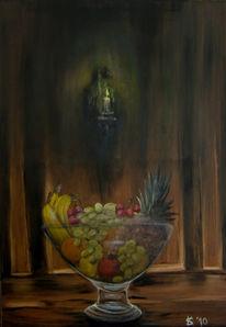 Apfel, Banane, Ananas, Trauben