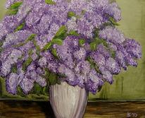 Blumen, Vase, Lila, Flieder