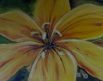 Blumen, Gelb, Lilie, Malerei