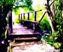 Landschaft, Brücke, Bearbeitung, Digital