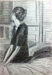 Profil, Kleid, Portrait, Kohlezeichnung