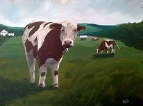 Wiese, Herd, Sommer, Kuh