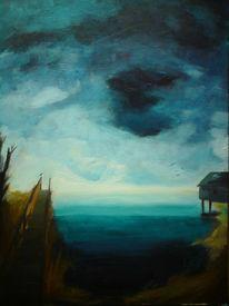 See, Wasser, Abend, Wolken