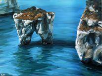 Felsen, Welle, Italien, Spiegelung