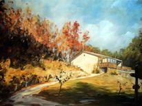 Laub, Landschaft, Herbst, Haus