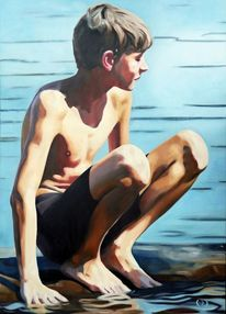 Junge, Dünn, Wasser, Malerei