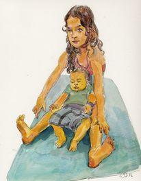 Kinder, Baby, Strand, Zeichnungen