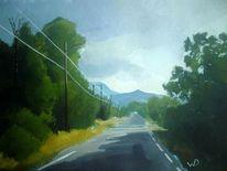 Berge, Wolken, Blau, Straße