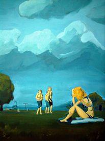 Rücken, Junge, Mädchen, Wolken
