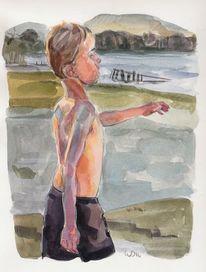 Bewegung, Junge, See, Zeichnungen