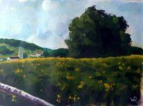 Landschaft, Dorf, Frühling, Kirche