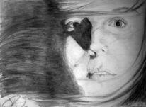 Augen, Mädchen, Gesicht, Aquarell