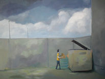 Hinterhof, Asphalt, Wolken, Frau